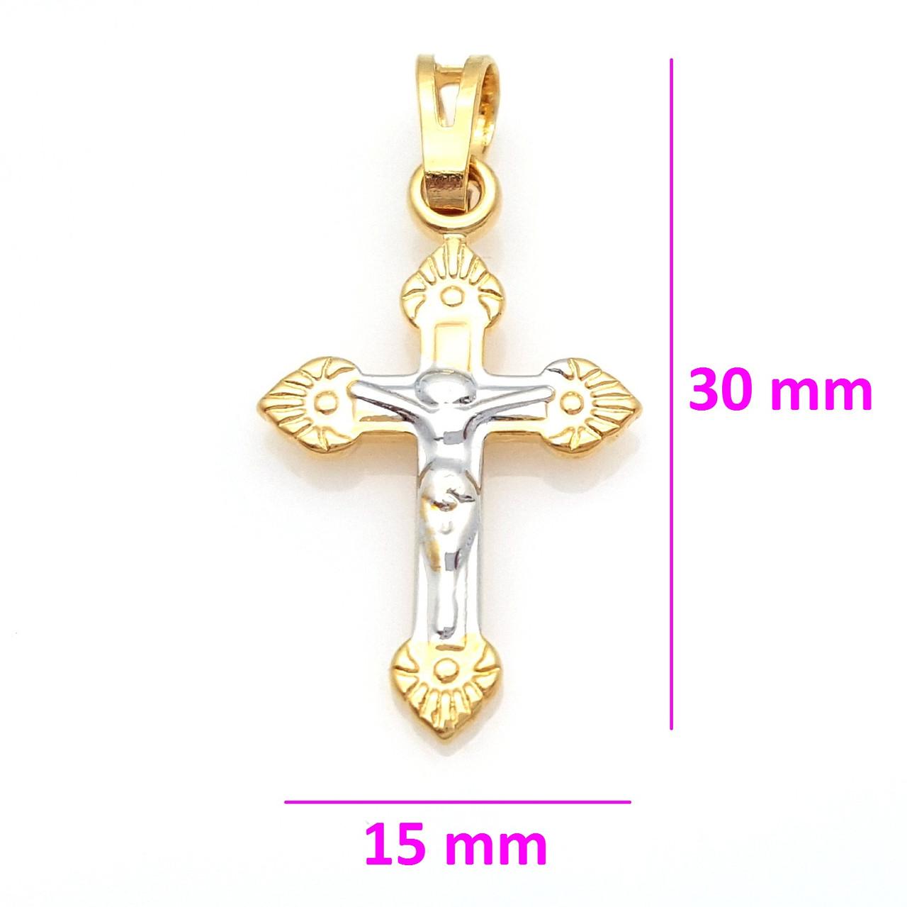 Крестик с распятием Христа, с узором, позолота+родий