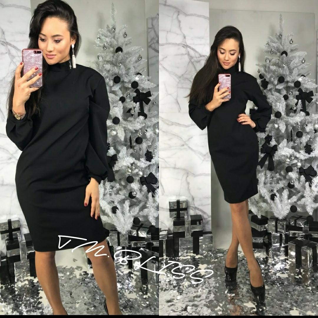 Платье приталенное с рукавом-фонариком 34py2296