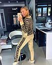 Принтованный вязаный женский брючный костюм с ангорой 18ks921, фото 4