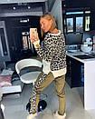Принтованный вязаный женский брючный костюм с ангорой 18ks921, фото 5