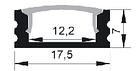 ПФ-15 Профиль накладной полуматовый 1М комплект:2 заглушки с отверстием+4 крепеж пластик 1016230, фото 5