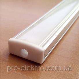 ПФ-15 Профиль накладной полуматовый 2М комплект: 2 шт. заглушки с отверстием + 4шт. крепеж пластик