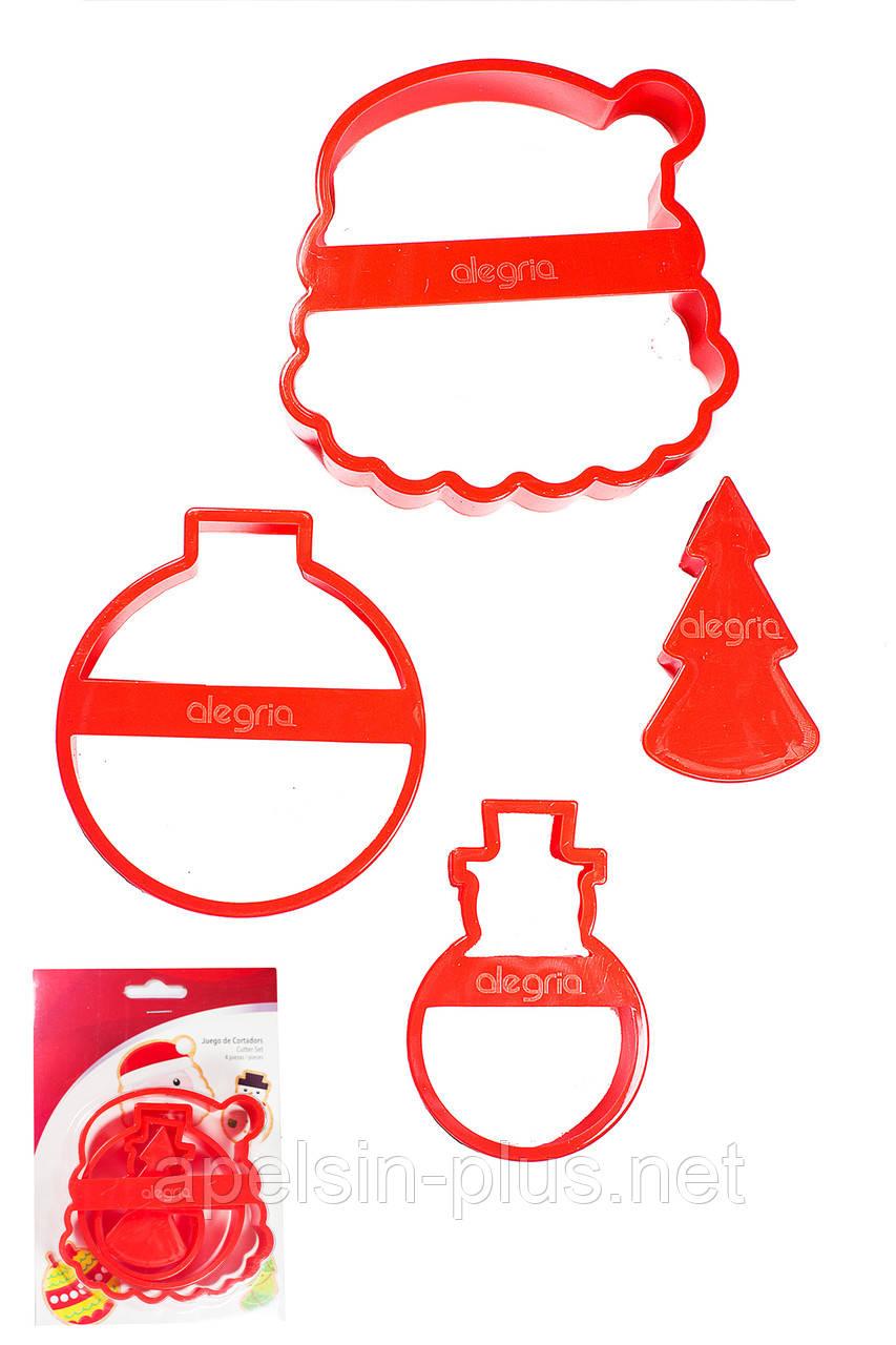 """Вырубка кондитерская для пряников и печенья """"Новогодний набор"""" из 4 форм"""