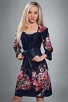 Женское трикотажное платье в модный принт, фото 1