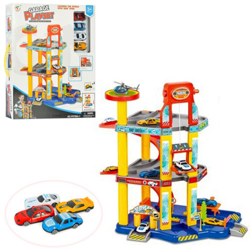 Гараж P8788A-1 3 поверхи, 4 машинки, дорожні знаки, в коробці, 39-46-8 см