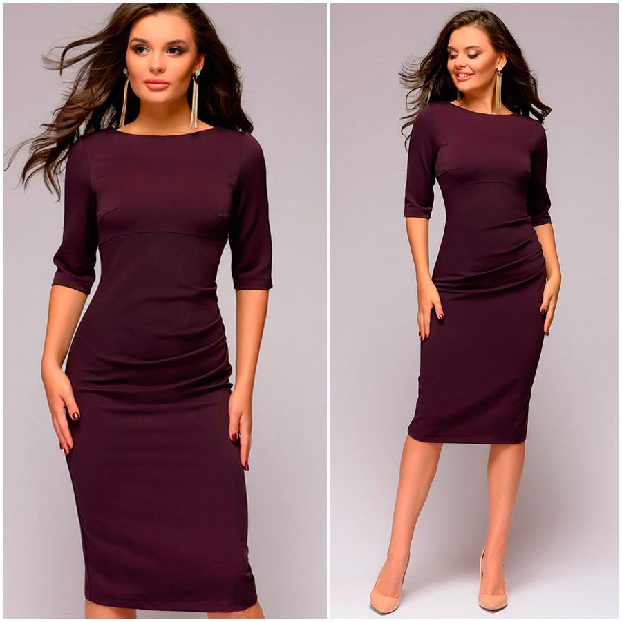 Платье-футляр цвета марсала Djessy (Код MF-407)
