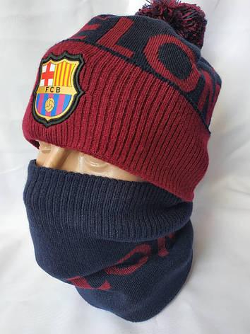 "Мужскойнабор ""Барселона"" состоит из шапки с помпоном и снуда, фото 2"