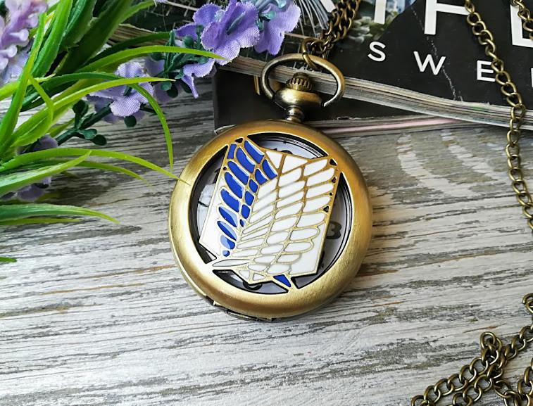 Часы Кулон Атака титанов Attack on Titan сине-белый бронзовый
