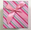 Подарочная коробка для часов в полоску Розовая с серым