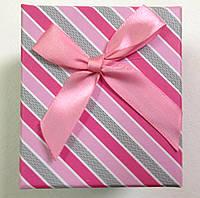 Подарочная коробка для часов в полоску Розовая с серым, фото 1