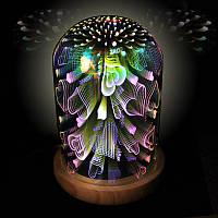 3D светильник колба с деревянной основой Tanbaby 3D Starburst ночник