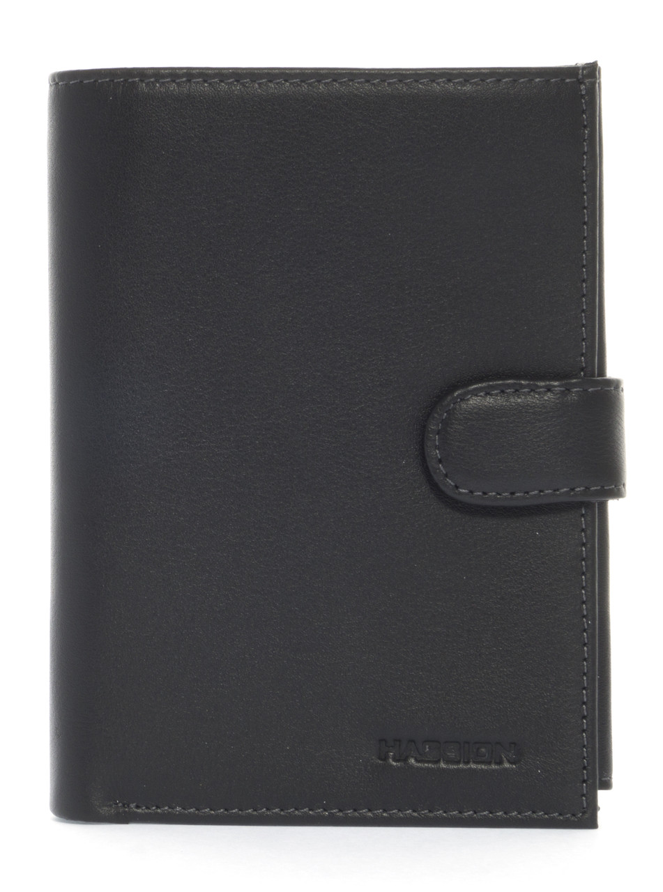 Мужское кожаное прочное стильный бумажник с отделением для документов Hassion art. H-001B черный