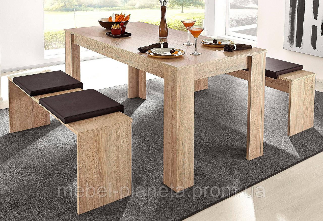 """Набір кухонний стіл+2 лавки """"Кантрі"""" Ліон"""