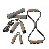 Набор для тренировок LiveUp Training Set (кистевой эспандер, скакалка, эспандер-восьмерка, 2 гантели) LS3516
