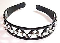 Обруч для волос, черный пластик с белыми и серыми стразами, ширина 3 см (6 шт)