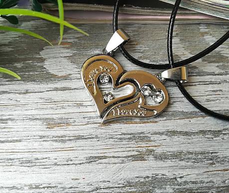 Кулон Две половинки сердца для влюбленных серебристый, фото 2