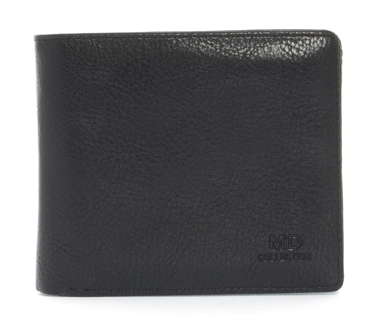 Удобный мужской кошелек из натуральной качественной кожи MD collection art. NB-8804 черный