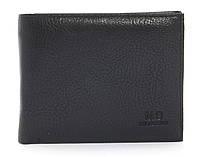 Кожаный черный аккуратный мужской кошелек с зажимом для денег MD collection art. 8806 black, фото 1