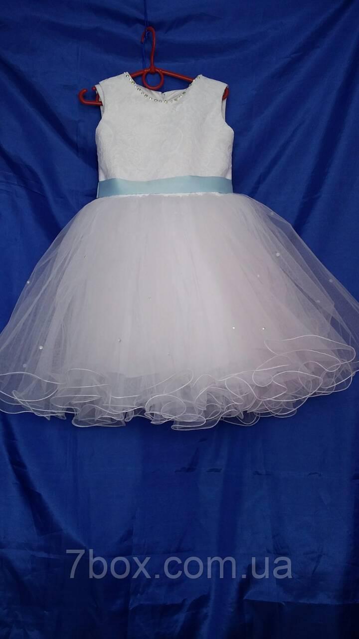 Детское нарядное платье 3-4года бальное Голубая лента