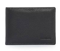 Кожаный черный аккуратный мужской кошелек с зажимом для денег Cantlor art. C-136B black, фото 1