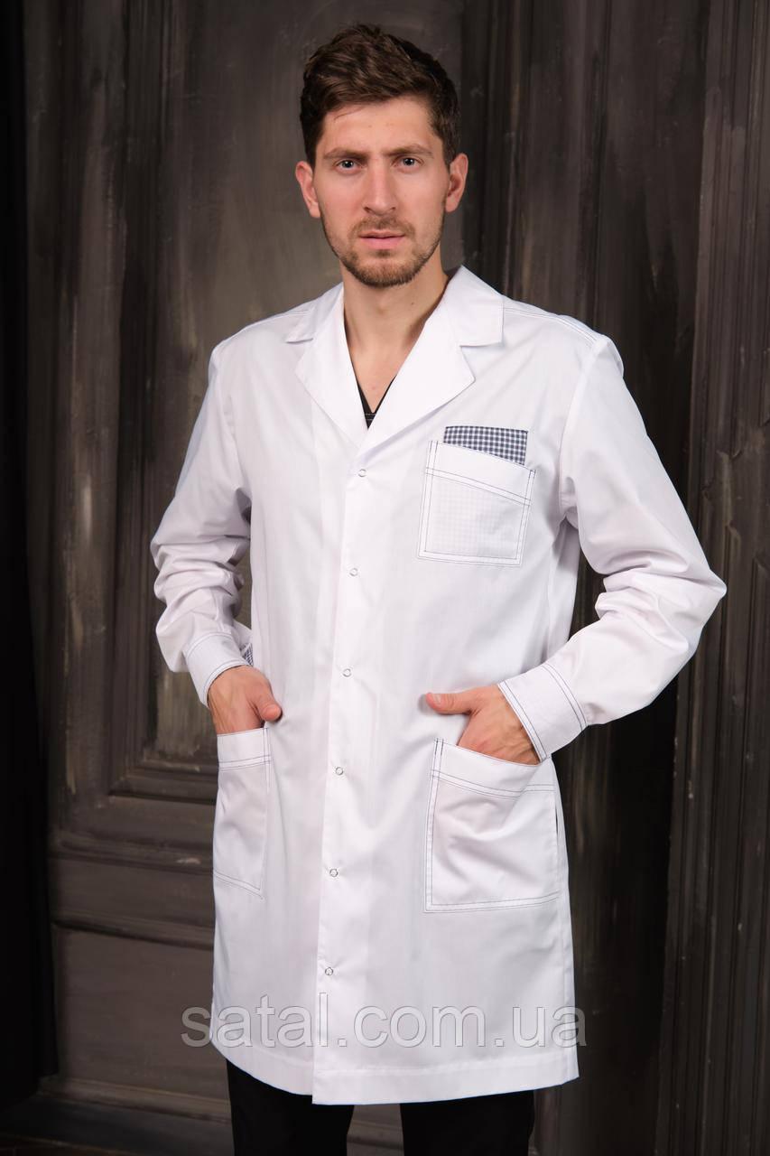 "Медицинский халат ""Стэн"" для мужчин. Белый (синий декор). Рукав длинный. Satal"