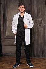 "Медицинский халат ""Стэн"" для мужчин. Белый (синий декор). Рукав длинный. Satal, фото 2"