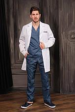 "Медицинский халат ""Стэн"" для мужчин. Белый (синий декор). Рукав длинный. Satal, фото 3"