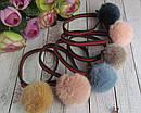 Резинки для волос с меховыми помпонами 12 шт/уп, фото 2
