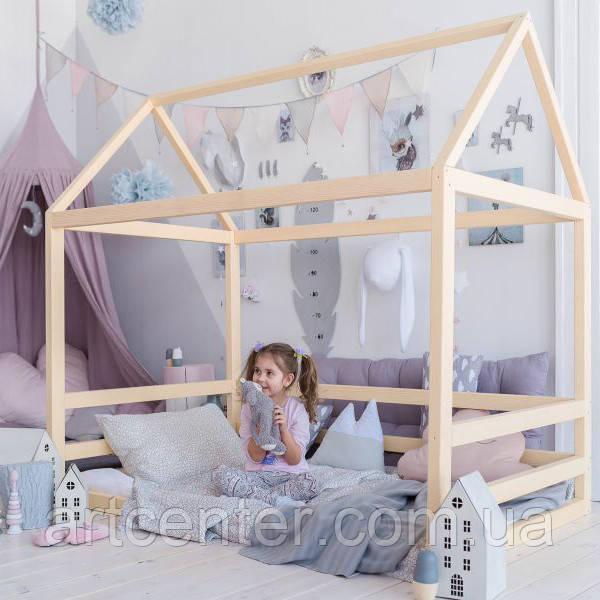Кроватка-домик из натурального дерева, вскрыта масловоском