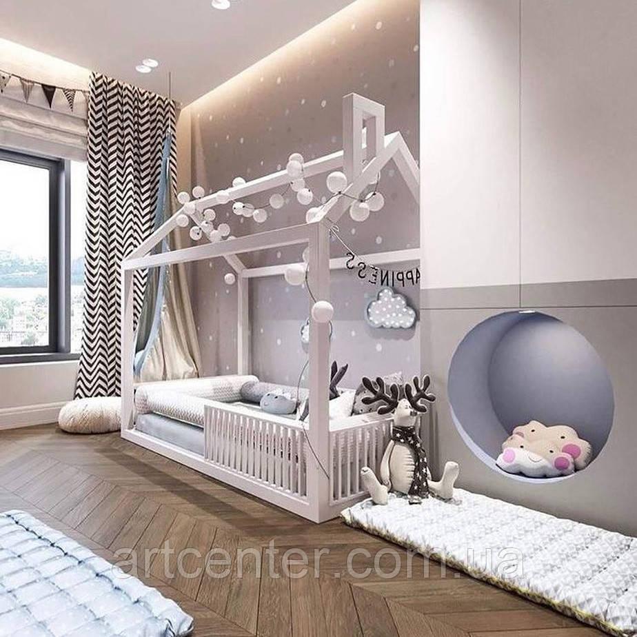 Кроватка-домик из натурального дерева, белая