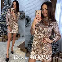 Платье прямое короткое из пайетки 5ty2271