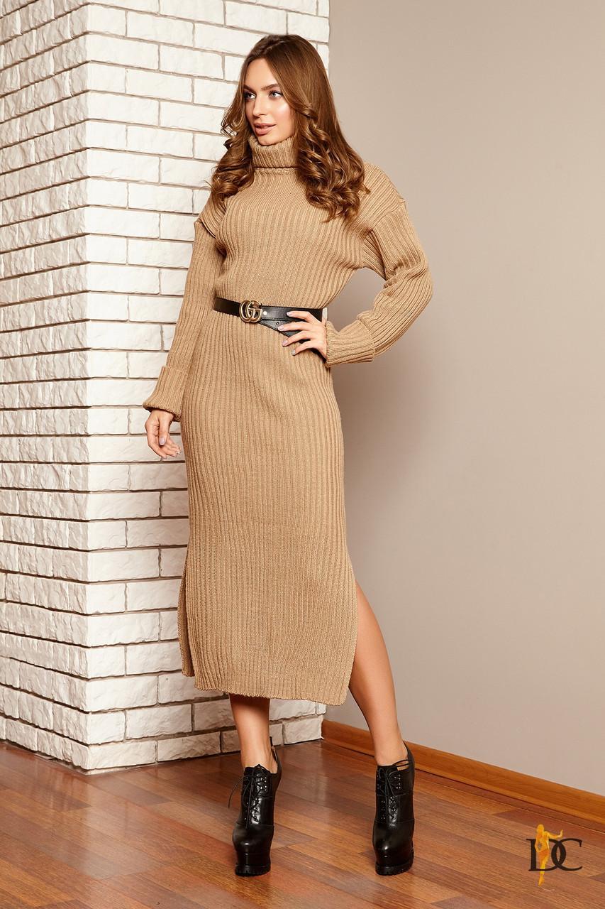 длинное вязаное платье с разрезами 31ty2278 в категории платья