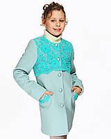 Детское пальто для девочки №589 мята
