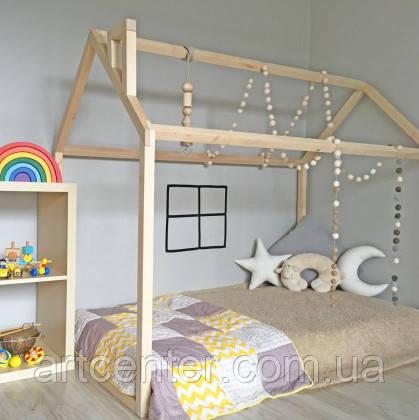 Кроватка-домик напольная, натуральное дерево вскрыто масловоском