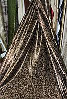 Ткань блэкаут коричневый крупный вензель