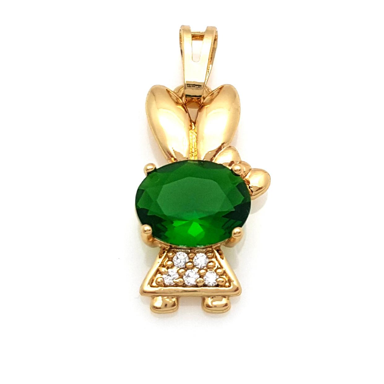 Кулон позолоченный, Зайка со вставкой зеленого циркония, Xuping, 18К