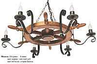Люстра из натурального дерева Штурвал на 6 ламп свечей, фото 1