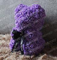 Оригинальный Teddy de Luxe Мишка из Роз 25 см (Фиолетовый) 300 шт. 3D Роз