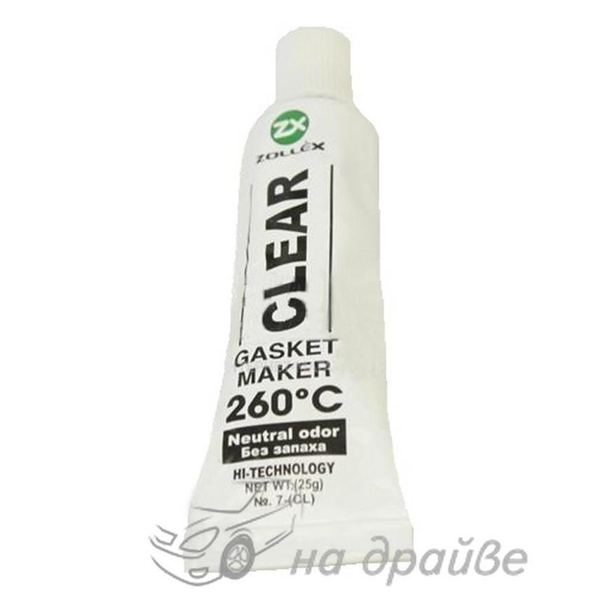 Герметик прокладок силиконовый прозрачный (Сlear) 260° без запаха 25г/5 штук в упаковке 7-(CL) Zollex