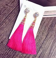 Серьги-кисточки розовые