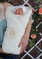 Вязаный трикотажный конверт-одеяло, молочного цвета, фото 1