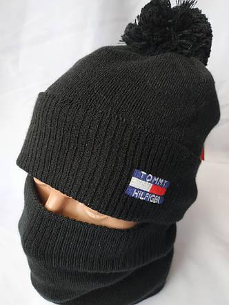 """Чоловічий набір """"Томмі Хілфігер"""" складається з шапки з помпоном і снуда, фото 2"""
