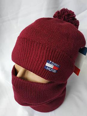 """Мужской набор """"Томми Хилфигер"""" состоит из шапки с помпоном и снуда, фото 2"""