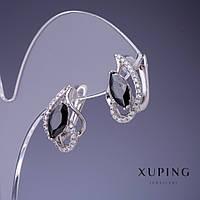 """Сережки Xuping з чорними кристалами 18х11мм """"родій"""""""