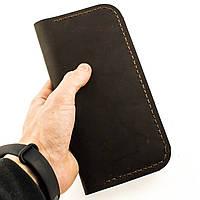 Мужской кошелек портмоне из натуральной кожи ручной работы Revier коричневый для денег и телефона, фото 1