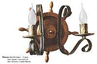 Бра из натурального дуба колесо штурвальное на 1 лампу свечу