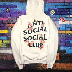 Толстовка белая Anti Social Social Club sakura | Худи ASSC | Кенгуру АССЦ