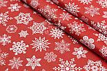 """Лоскут поплина с новогодним рисунком  """"Фигурные снежинки"""" белые на красном №1604, размер 31*120 см, фото 4"""