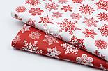 """Лоскут поплина с новогодним рисунком  """"Фигурные снежинки"""" белые на красном №1604, размер 31*120 см, фото 6"""