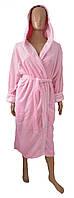 Женский махровый халат - розовый